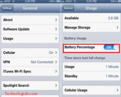 How to show battery percentage on iPhone