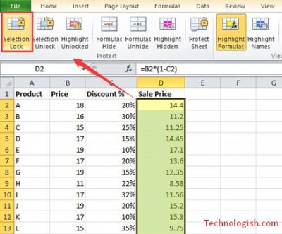 lock formula in excel